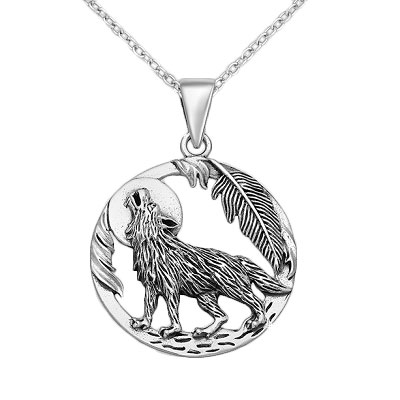 Wolf and Moon Pendant