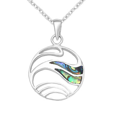 Silver Wave Pendant with Shell